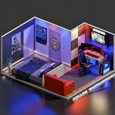 Computer Gaming Room, Gaming Room Setup, Gaming Rooms, Small Game Rooms, Blender 3d, Chill Room, Recording Studio Home, Bedroom Setup, Video Game Rooms