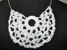 White Crochet Lace and Sterling Silver Necklace by BADKITTYKNITS on Etsy