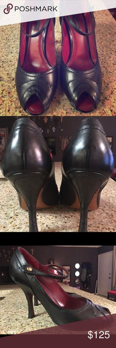 Louis Vuitton black open-toe Mary Jane pump From Fall Winter 2005 Ready to Wear collection. Lightly and lovingly worn two or three times, tops. In great condition, near to new. No scuffs or scratches anywhere on leather. Narrow fit. Louis Vuitton Shoes Heels