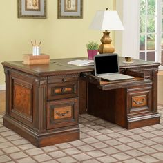 Parker House Corsica Double Pedestal Executive Desk - Antique Vintage Dark Chocolate. Traditional style with handy modern features. Built of poplar solids, birch veneers, and poplar burl. Antique vintage dark chocolate finish with decorative hardware. 2 file drawers, 2 supply drawers, 2 pull-out surfaces. Pull-out keyboard tray and wire management hole.