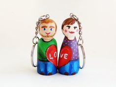 LineaCreations Door key figures Valentine / door key personalized Valentine / door key peg doll / Custom Gift Keychain
