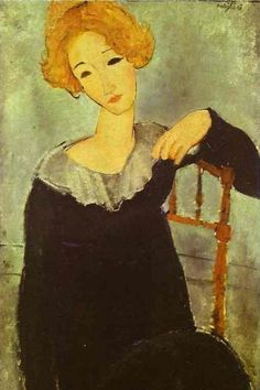 Woman with red hair, 1917 Amedeo Modigliani. Such a fan of Modigliani! Amedeo Modigliani, Modigliani Paintings, Oil Paintings, National Gallery Of Art, Art Gallery, Italian Painters, Italian Artist, Oil Painting Reproductions, Art Moderne