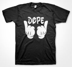Mickey hands Dope T-shirt swag hip hop music fan Cool party Shirts