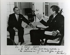 Photograph of President John F. Kennedy autographed to J. Edgar Hoover
