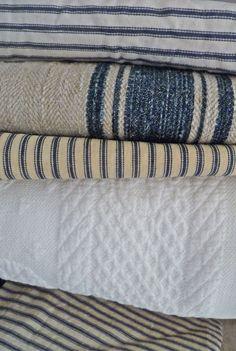 Textiles: European grain bags & classic ticking are singing the blues