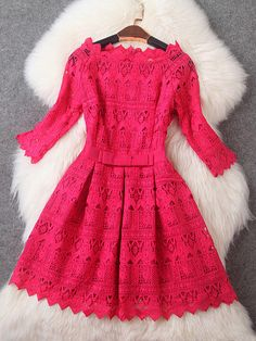 Lace Dress with Bow in Pink