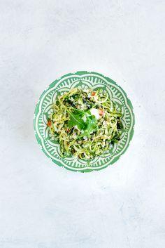 Courgette Spaghetti, Trapanese Pesto & Ricotta Salata   Www.damienchef.com