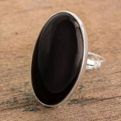 Stainless Steel Bezel-set Round Split Shank Cocktail Ring with Black Onyx
