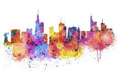 Printable Horizontal Watercolor Skyline of Frankfurt/ City Wall art/ Frankfurt silhouette/ Watercolor skyline painting/ Frankfurt decor Skyline Painting, Skyline Art, Canvas Art, Canvas Prints, Art Prints, Frankfurt, City Art, Artist Art, Handmade Art