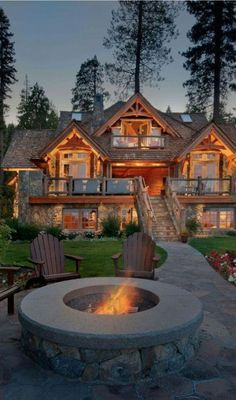 Mix of stone and log exterior