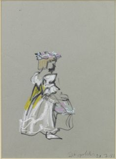 A bridesmaid at Charles and Diana's wedding, sketched by Feliks Topolski in 1981