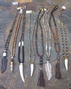 Beaded necklaces with bone horns Www.lisajilljewelry.com #BohemianJewelry