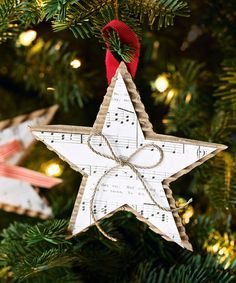 Show off your favorite holiday tune by displaying the sheet music in the form of a star. Place a small bow in the middle for an added accent.  Get the tutorial at Good Housekeeping »   - GoodHousekeeping.com