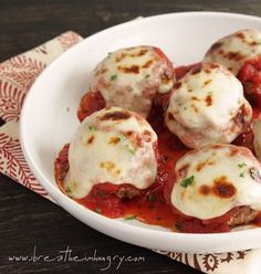 Low Carb Meatballs alla Parmigiana Gluten Free - Juicy, tender, and full of flavor, a good Italian meatball is a beautiful thing.