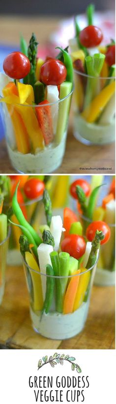 Dip Cups with Green Goddess Dip These individual appetizer or healthy snack cups are an ingenious way to serve veggies and dip!These individual appetizer or healthy snack cups are an ingenious way to serve veggies and dip! Snacks Für Party, Appetizers For Party, Appetizer Recipes, Pool Snacks, Picnic Recipes, Picnic Foods, Veggie Dip Cups, Green Goddess Dip, Green Goddess Dressing