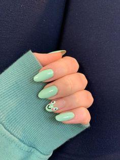 Acrylic Nails Coffin Short, Simple Acrylic Nails, Summer Acrylic Nails, Best Acrylic Nails, Acrylic Nail Designs, Green Nail Designs, Acrylic Nails Green, Acrylic Nails Almond Short, Fruit Nail Designs