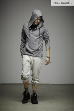 LS103-C-H. GREY-CASHMERE HOODED HENLEY // FP102-SNOW-FIELD PANT