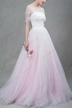 IS037 Beautiful white and blush pink two tones tulle ball gown wedding dress by JDSBRIDAL
