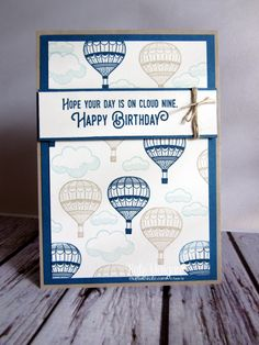 Lift Me Up Hot Air Balloons Masculine card by Kate Morgan, Independent Stampin' Up! demonstrator, Australia. Occasions 2017