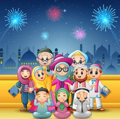 Vector illustration of Happy family celebrate for eid mubarak with mosque and fireworks background , Ied Mubarak, Eid Adha Mubarak, Wallpaper Ramadhan, Fireworks Background, Islamic Cartoon, Anime Muslim, Muslim Family, Islamic Pictures, Pop Surrealism