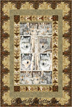 Wilderness Panel Wolf Quilt ePattern 3712-2 by castillejacotton