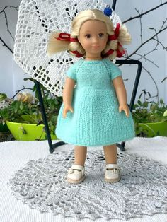 Hand knitted mint  dress  to 6 inch doll. Summer Dress for AG