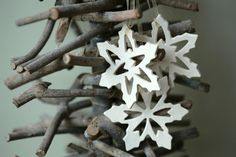 White Snowflake Pottery Rustic Decoration White by Ceraminic, $20.00