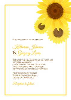 Sunflower Wedding Invitation Template. For customizations: printableinvitationkits[at]gmail[dot]com