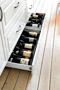Design Idea – Include Toe Kick Drawers In Your Cabinetry For Extra Storage Kitchen Design Idea - Toe Kick Drawers // They are perfect for wine storage.Kitchen Design Idea - Toe Kick Drawers // They are perfect for wine storage. Smart Kitchen, Kitchen And Bath, Kitchen Decor, Awesome Kitchen, Kitchen Pantry, Hidden Kitchen, Cheap Kitchen, Design Kitchen, Country Kitchen
