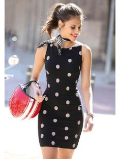 Women'S polka dots sleeveless dress made of adaptable elastic point Buy Dresses Online, Zara, Dress Making, Dress Outfits, Dresses For Work, Plus Size, Womens Fashion, Clothes, Short Prom Dresses