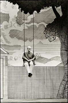 Craig Easton: David Hockney on the set of The Rakes Progress, Saddlers Wells, London. The Independent, October 1992.
