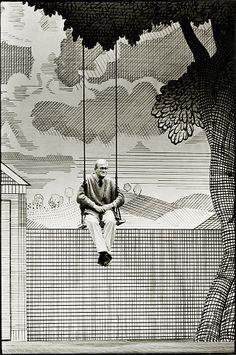 Craig Easton: David Hockney on the set of The Rakes Progress, Saddlers Wells, London. The Independent, October 1992.