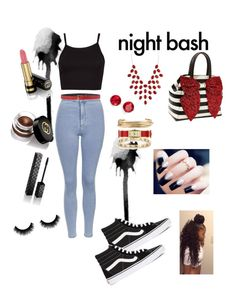 """Night bash❤️"" by tickii ❤ liked on Polyvore featuring Topshop, Vans, Louis Vuitton, Betsey Johnson, Faith Connexion, Tiffany & Co., Kate Spade, Jennifer Fisher, Charlotte Russe and Anne Klein"