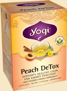 Yogi Tea Peach DeTox | Restoring internal purity has never tasted so good. Yogi Peach DeTox is a blend of traditional purifying herbs that support the body's natural cleansing processes. Our formula uses an Ayurvedic combination called 'trikatu'—a blend of ginger, black pepper and long pepper—that gently increases circulation. Organic dandelion supports the liver's function to eliminate toxins, and fo-ti, a highly regarded herb in Traditional Chinese Medicine, supports liver and kidney…