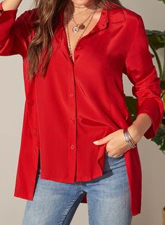 Xl Fashion, Womens Fashion Online, Latest Fashion For Women, Red Blouses, Blouses For Women, Casual Outfits, Long Sleeve, Sleeves, Clothes