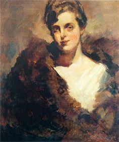 Konstantin Korovin (Russian 1861–1939) [Impressionism, Art Nouveau] The portrait of Mariinsky Theatre singer Vera Aleekseevna Dorofeeva, 1920.