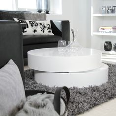Discover our contemporary coffee tables that will look stunning in your living room. Browse the collection of Danetti coffee table sets online today. White Gloss Coffee Table, White Round Coffee Table, Diy Coffee Table, Coffee Table With Storage, White Coffee, Contemporary Coffee Table, Modern Coffee Tables, Modern Table, Rooms Home Decor