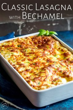 This Classic Lasagna is made with a traditional ragu bolognese and a creamy white sauce (Bechamel sauce). This lasagna is packed full of flavor - layers of lasagna noodles, a rich beef and tomato sauc Classic Lasagna Recipe, Best Lasagna Recipe, Lasagne Recipes, Homemade Lasagna, Lasagna Sauce Recipe, Creamy Lasagna Recipe, Lasagna With Bechamel Sauce, Lasagna Recipe Without Ricotta, Recipes