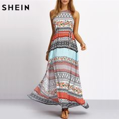 Aliexpress.com : Buy SHEIN Ladies Sleeveless Dresses Woman Summer Boho Dress Beach Casual Multicolor Vintage Print A Line Split Maxi Dress from Reliable dress up girls dresses suppliers on SheIn Official Store