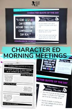 Character Education Morning Meeting Digital Whiteboard and Printable Journal BUNDLE, ideal for social and emotional learning. This bundle includes morning meeting day starters on: resilience, courage, self-confidence, self-respect, tolerance, leadership, respect, empathy, honesty and compassion. #morningmeetings #charactereducation Teaching Character, Character Education, Character Development, Personal Development, Social Emotional Learning, Social Skills, Help Teaching, Teaching Resources, Citizenship Education
