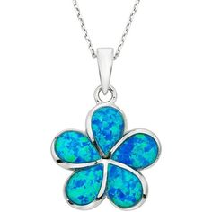 Lab-Created Blue Opal Sterling Silver Flower Pendant Necklace ($68) ❤ liked on Polyvore featuring jewelry, necklaces, blue, sterling silver pendant necklace, blue opal necklace, blue opal pendant, pendant necklace and flower pendant necklaces