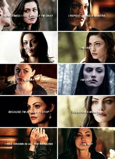 """#TO The Originals  Hayley Marshall  """"Sometimes I tell myself I'm okay, I repeat it like a mantra""""  """"I'm okay""""  """"I'm okay""""  """"I'm okay""""  """"I'm okay""""  """"Because I'm afraid if I stop, even for a moment.. I will drown in all the reasons I am not"""""""