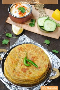 Spicy Zucchini Flatbread. Need to try this instead of aloo paratha's.