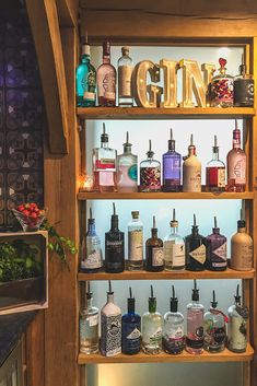 We've stocked the top shelf of our gin bar for with a host of our fave Welsh gins, including Aber Falls Gin, Hibernate Gin, Pant y Foel gin and Blue Slate Gin. Our in-house mixologists can create a bespoke gin menu for your wedding day celebrations. Diy Home Bar, Diy Bar, Bars For Home, Mini Bars, Bar Shed, Diy Outdoor Bar, Bottle Display, Bar Shelves, Backyard Bar