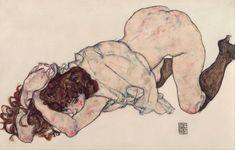 Egon Schiele - Kneeling Girl Resting on Both Elbows (1917)