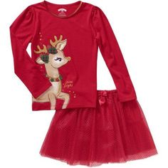 Baby Toddler Girl Christmas Graphic Tee & Tutu Outfit Set