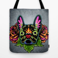French Bulldog in Black, Day of the Dead Sugar Skull Dog, Reusable Tote Bag by Pretty In Ink.