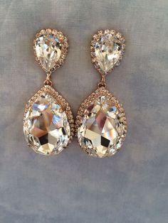"Rose Gold Swarovski Crystal Embellished Teardrop Earrings - In stock - 2.5"" long.  Wedding earrings, bridal earrings, Rose gold earrings"