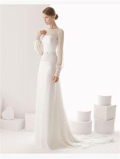 White Column Bateau long sleeve Chiffon 2014 Wedding Dress