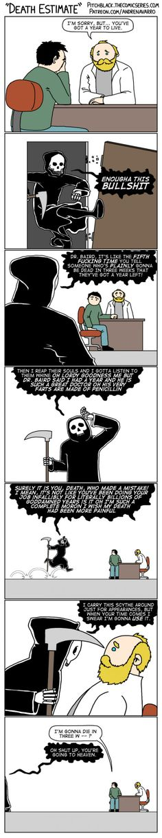 Death estimate comic--with the funniest Death I've ever seen.